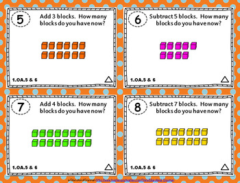 1.OA.5 Task Cards 1.OA.6 ⭐ Addition and Subtraction within 20 - Centers
