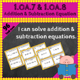 1.OA.7 Task Cards 1.OA.8 Task Cards: Addition & Subtraction Equations 1OA7 1OA8