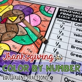 Thanksgiving Coloring Pages Equivalent Fractions Color by Number
