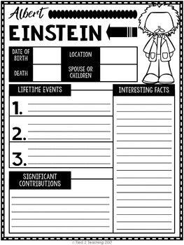 Albert Einstein Mini Biography Unit