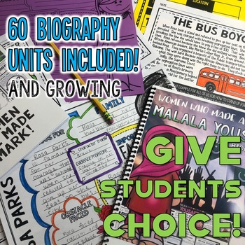 Biography Unit Bundle - Biography Report Research