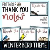Thank You Notes Editable Winter Bird Theme