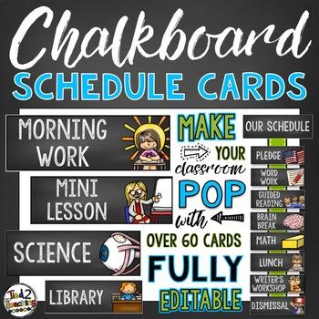 Chalkboard Classroom Decor - Schedule Cards