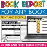 DIGITAL Book Report Template for ANY BOOK: Google Classroom