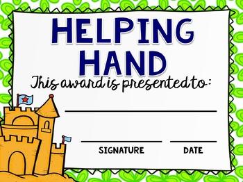 End of the Year Classroom Awards - Editable BEACH Awards