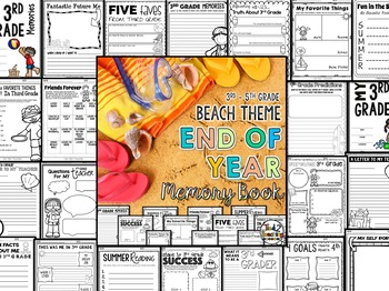 End of the Year Memory Book Activities - BEACH Theme