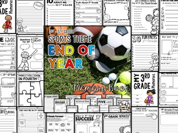 End of the Year Memory Book Activities - SPORTS Theme