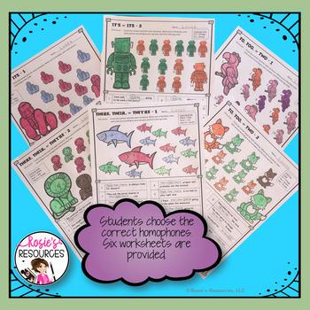 Color by Code Grammar - Homophones Set 1