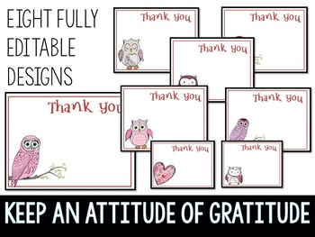 50% OFF 1ST 24 HRS Thank You Notes Editable Valentine Owls Theme