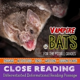 VAMPIRE BATS a Halloween Close Reading Passage