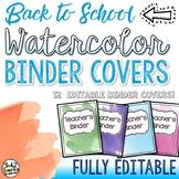 Watercolor Binder Covers EDITABLE