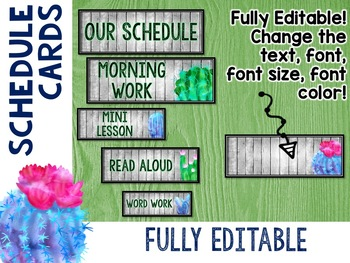 Cactus Classroom Decor Schedule Cards EDITABLE