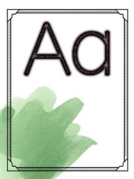 Watercolor Classroom Decor Alphabet Posters EDITABLE