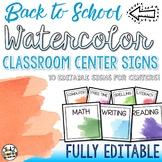 Watercolor Classroom Decor Classroom Center Signs EDITABLE