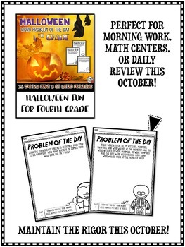 Halloween Math Word Problem of the Day 4th Grade