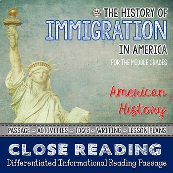 50% OFF 1ST 24 History of Immigration in America - Differentiated Close Reading