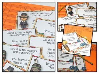 Thanksgiving Task Card Activities for Identifying Verbs