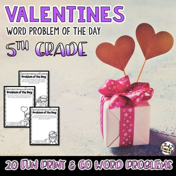 50% OFF 1ST 24 Valentines Day Activities Math Problem of the Day 5th Grade