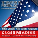 Veterans Day Differentiated Close Reading