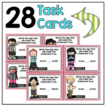 Comparing Whole Numbers Task Cards 4th Grade