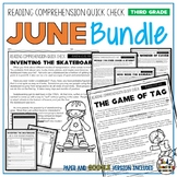 June Reading Comprehension Passages and Questions for 3rd Grade