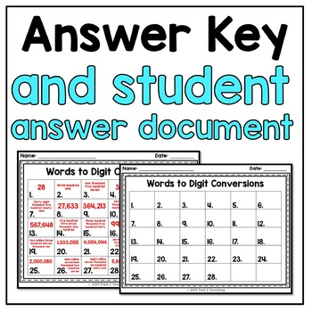 Numerical and Word Form Task Cards 4th Grade