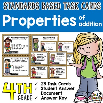 Properties of Addition Task Cards 4th Grade