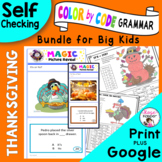 Thanksgiving Grammar Activities - Coloring Pages - Digital Magic Picture Reveals