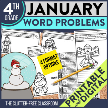 50% OFF 1st 24 HOURS | 4th GRADE JANUARY WORD PROBLEMS