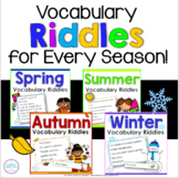 Full Year of Vocabulary Riddles for Spring, Summer, Autumn, and Winter Bundle