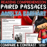 Paired Passages Amelia Earhart Print and Digital Distance Learning