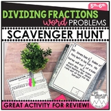 Dividing Fraction Word Problems | Scavenger Hunt
