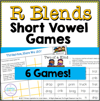Rr Blends in Short Vowel Words One Page Games