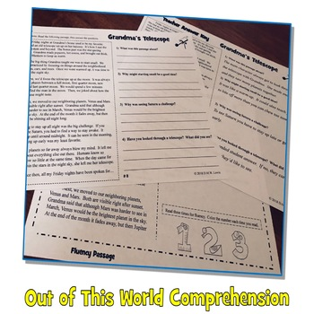 20 Space Reading Comprehension Passages: Fall Reading Comprehension Fun