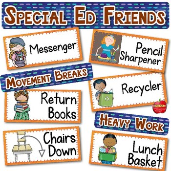 EDITABLE Classroom Jobs with Visual Supports: Regular & Special Education K-3rd