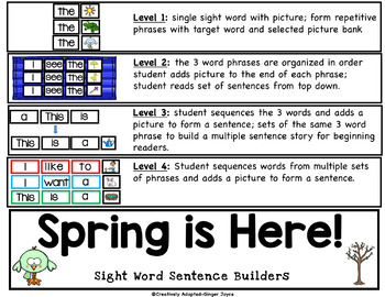Sight Word Sentence Builders SPRING VOCABULARY (K-2/SPED/ELL)