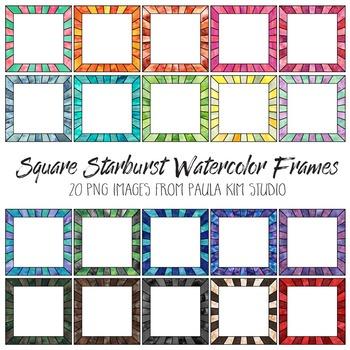 Square Watercolor Starburst Frames