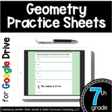 7th Grade Practice Sheets Geometry Google Forms for Distan