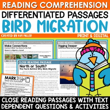 Bird Migration Close Reading Comprehension Passages & Questions