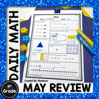 Daily Math Review First Grade - Spiral Math Review -May