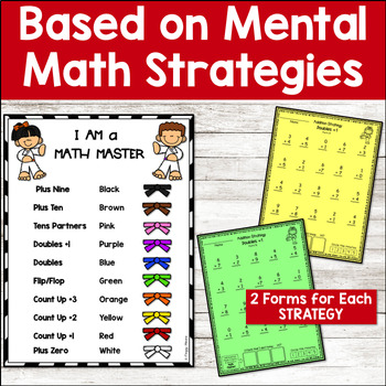 Math Facts Fluency ADDITION Assessments - Karate theme