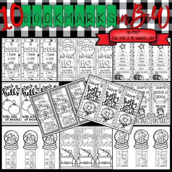 Christmas Activities: Bookmarks in Color and B&W