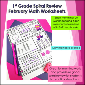 Daily Math Review First Grade -February