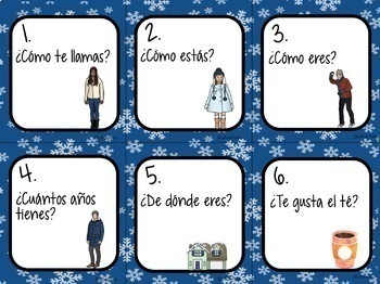 Spanish 1 Conversation Cards (Winter Edition) | Speaking Activity