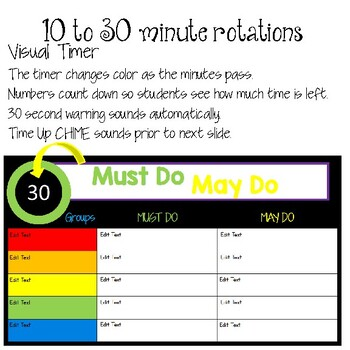 Digital Must Do/May Do Board w/Timers EDITABLE