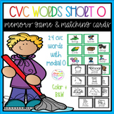 Short O CVC Words Memory Game and Vocabulary Matching cards