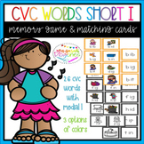Short I CVC Words Memory Game and Vocabulary Matching cards