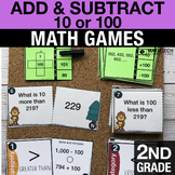 2nd Grade Add & Subtract 10 or 100 Math Centers - 2nd Grade Math Task Cards