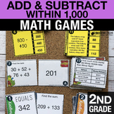 2nd Grade Add and Subtract within 1,000 Math Centers - Math Games
