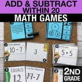 2nd Grade Fluently Add & Subtract within 20 Math Centers -